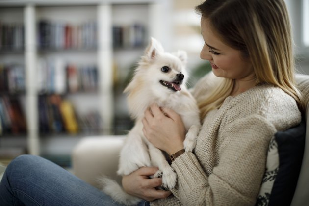 Woman relaxing at home with her dog