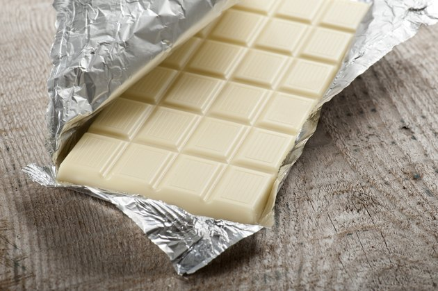white chocolate bar in foil wrapping