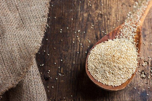 quinoa in a wooden spoon