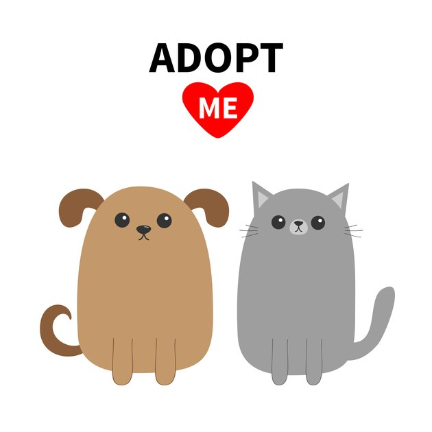 Adopt me. Dont buy. Dog Cat Pet adoption. Puppy pooch kitty cat. Red heart. Cute cartoon character set. Flat design. Help homeless animal concept. White background. Isolated.