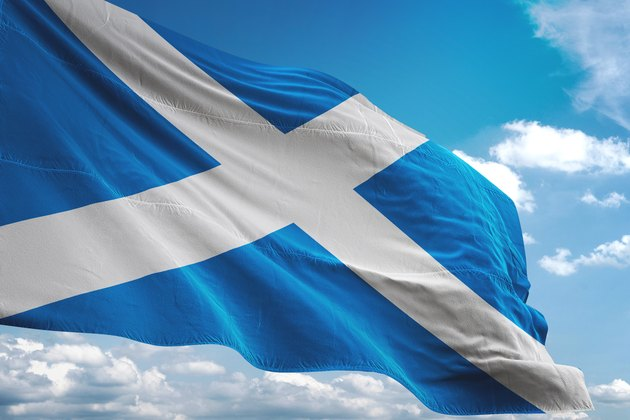 Scotland flag waving cloudy sky background
