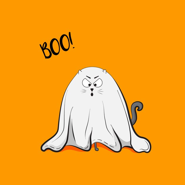 Vector scary playful cat ghost illustration. Halloween 2018 greeting card. October autumn holiday spooky animal cute childish art concept. Trick or treat wallpaper