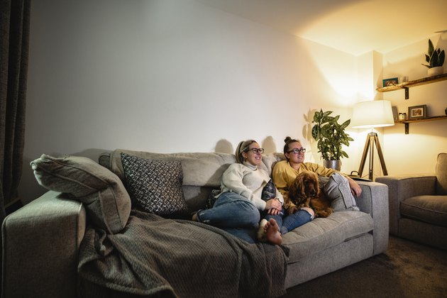 Couple watching TV on sofa with their dog.