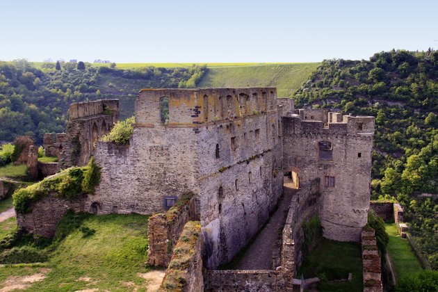 Burg Rheinfels castle in rolling green hills