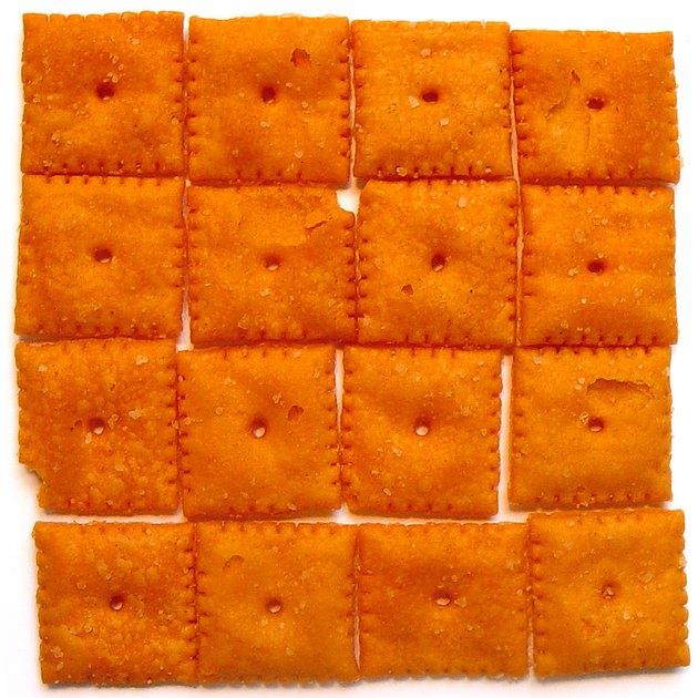 CheezIt crackers on white background