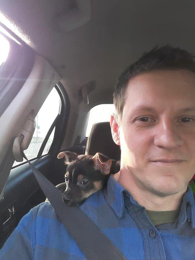 dog sits on man's shoulder in car