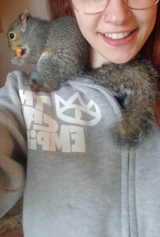 Person with squirrel sitting on shoulder