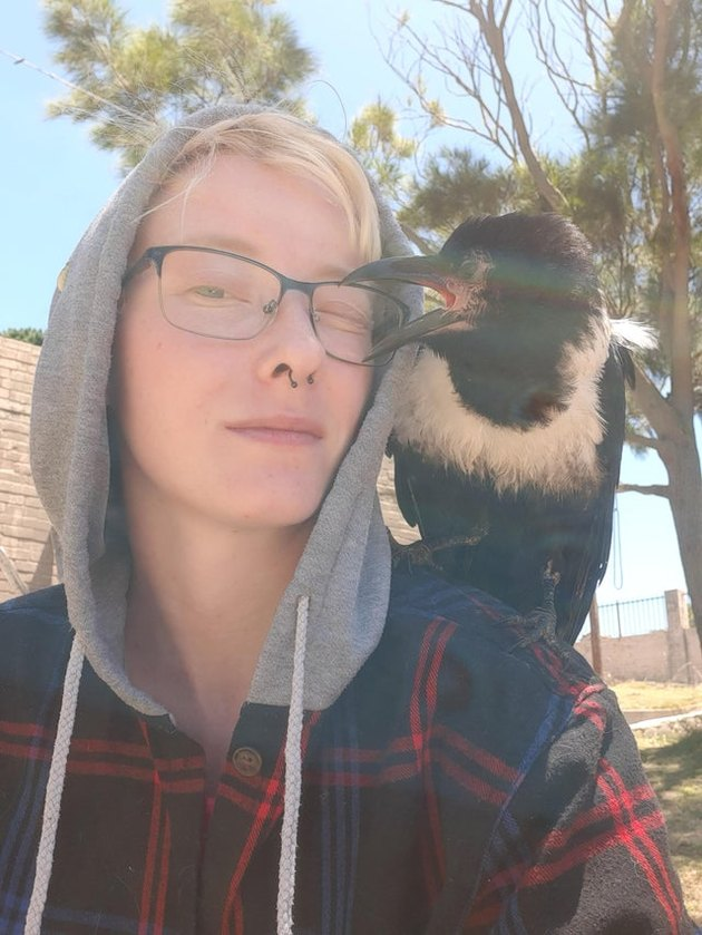 Person with crow sitting on shoulder
