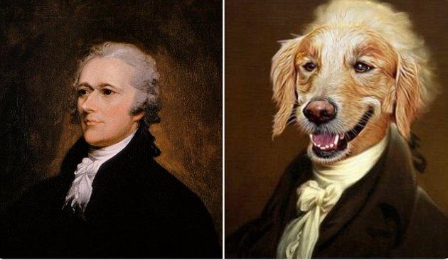 alexander hamilton and a dog photoshopped into an old timey photo