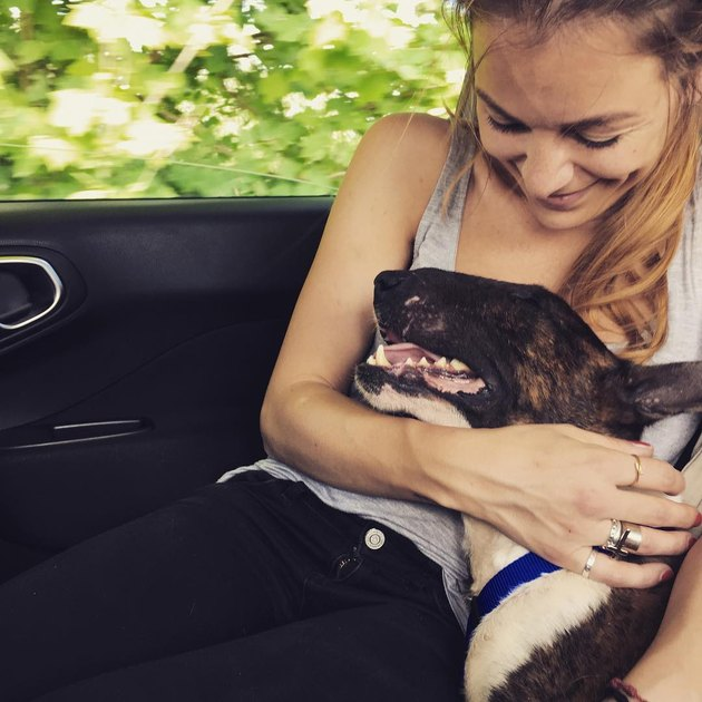 Dog leaning against girl in car.
