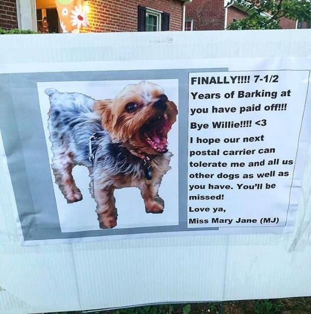 dog writes goodbye note for retiring mailman