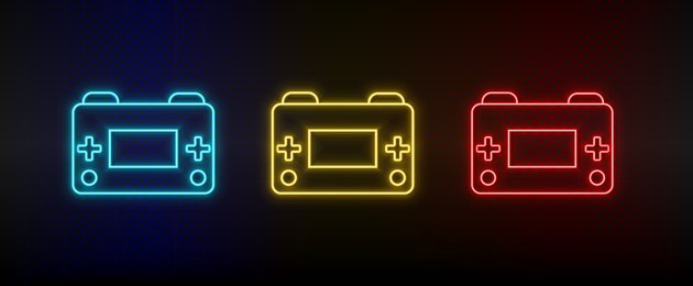 Neon icons. Retro arcade game console. Set of red, blue, yellow neon vector icon