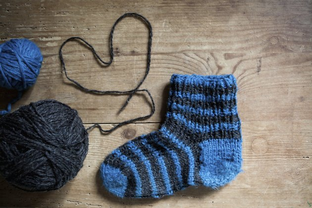 knitting socks with love, ball of wool