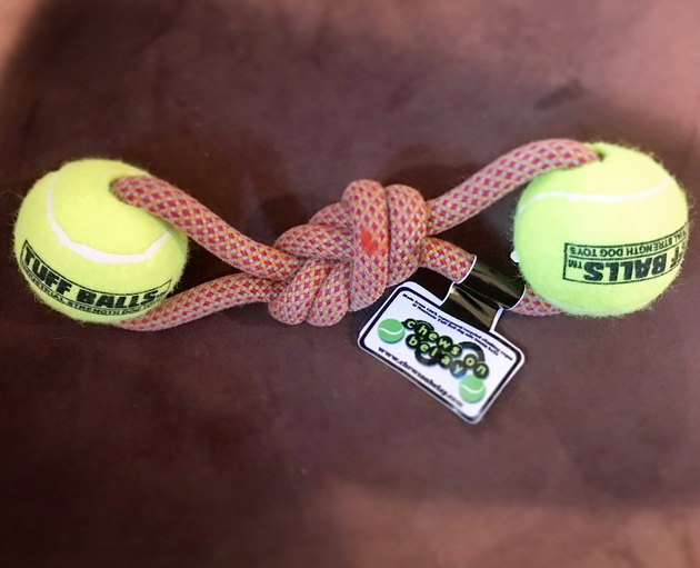 dog ball and rope toy