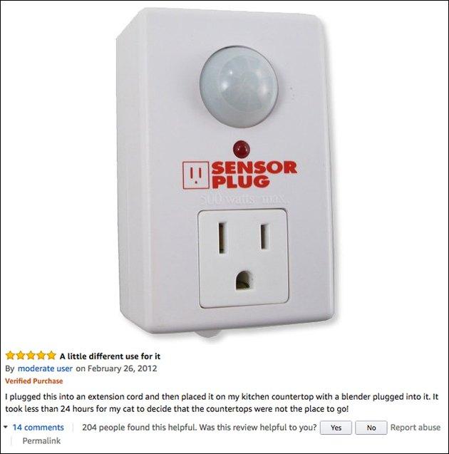 Funny Amazon reviews (motion sensor plug)