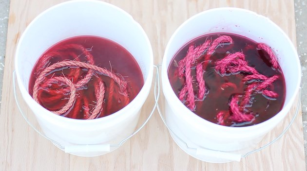 soaking rope in RIT dye