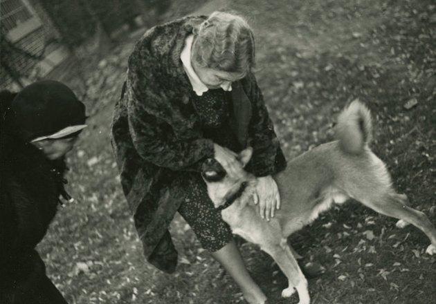 Helen Keller with pet Akita