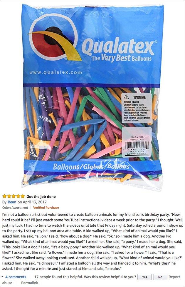 Funny Amazon reviews (balloon animals)
