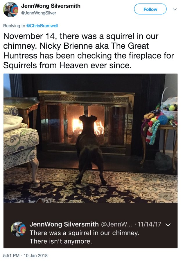 fireplace squirrel from heaven