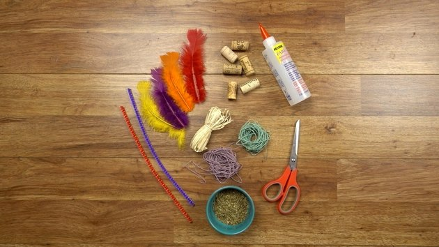 Materials for DIY cat toys out of wine corks.