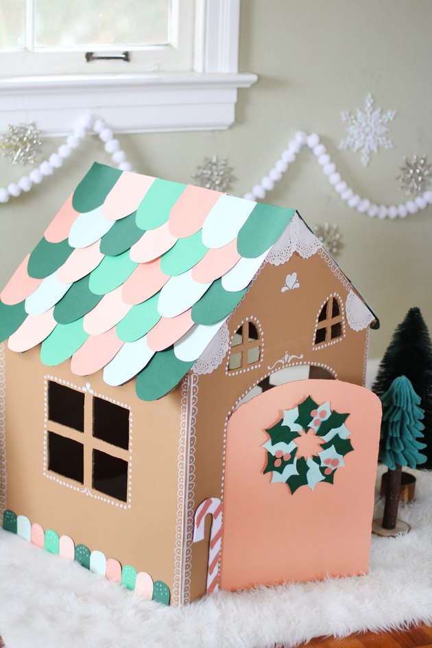 Cardboard gingerbread cat house