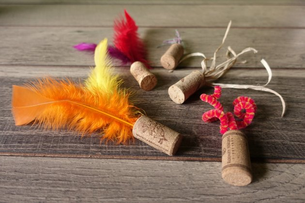 DIY cat toys out of wine corks.