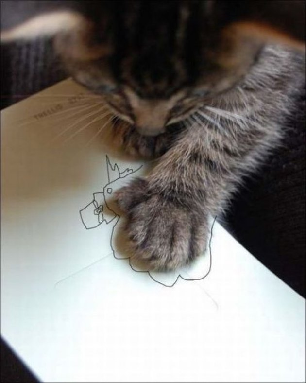 Cat with a drawing of a hand turkey