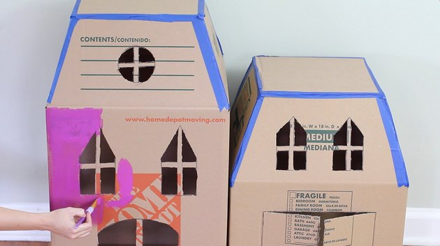 Painting the cardboard house
