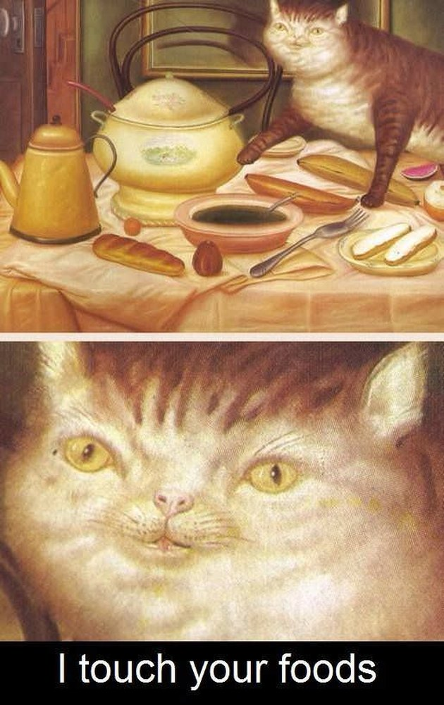 Olden days cat painting with a cat touching dinner food