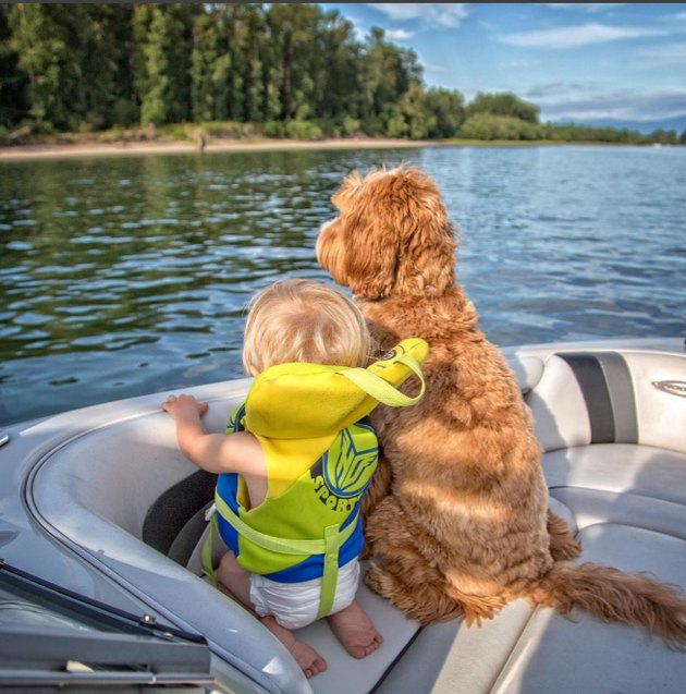 Reagan and Little Buddy on a boat