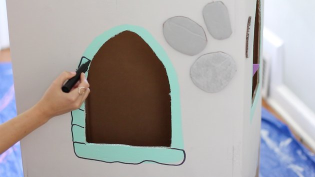 Drawing faux stones around window