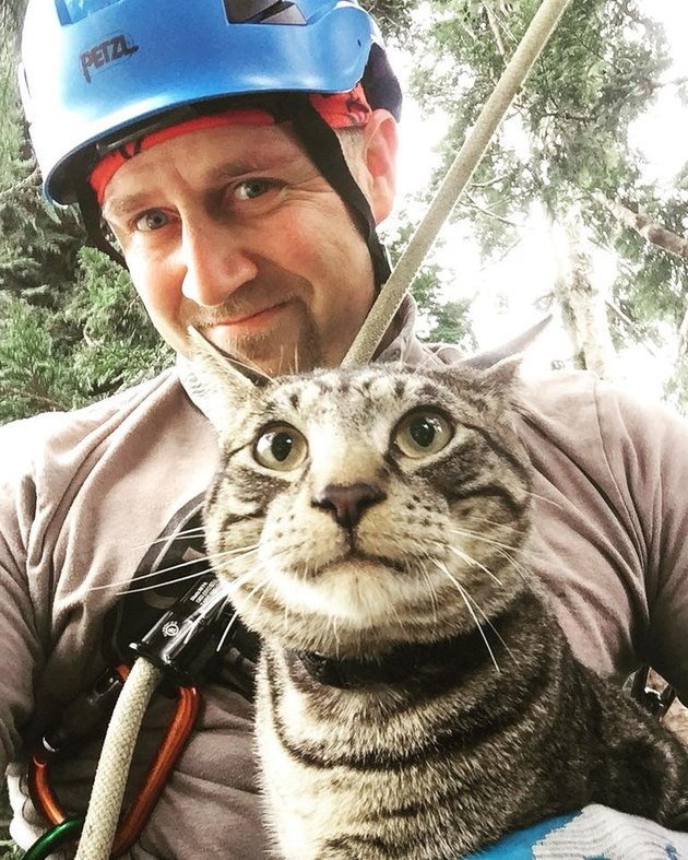 Canopy Cat Rescue cofounder Shaun rescuing a cat