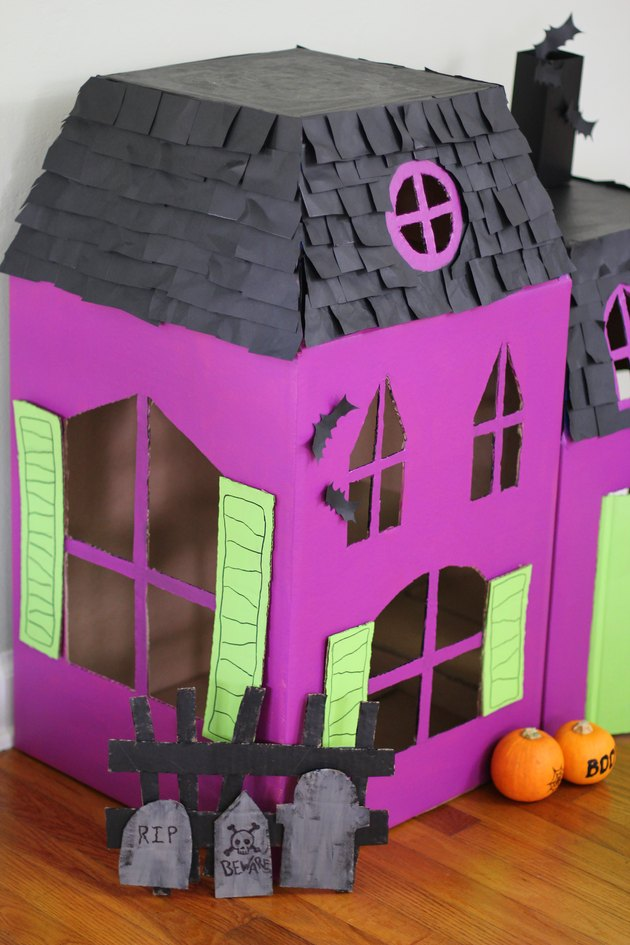 Side view of haunted pet house