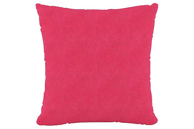 Dress up a favorite sofa or chair with this pillow, made from cotton fabric with a textural weave in a bright fuchsia hue. Insert included.