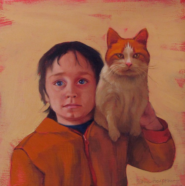 Boy and Cat / Diane Hoeptner / Cat Art Show