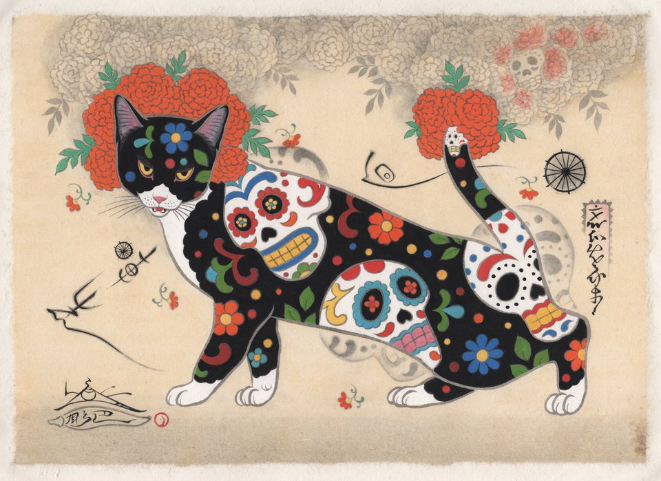 Sugar Skull Cat / Horitomo / Cat Art Show