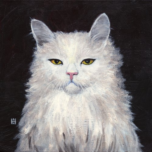 White Fluffy Confrontation / Stephanie Han / Cat Art Show