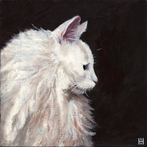 White Fluffy Profile / Stephanie Han / Cat Art Show